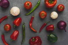Fresh vegetables on grey background Royalty Free Stock Images