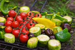 Fresh vegetables for grilling outdoors. Fresh vegetables for grilling, picnic in summer outdoors Stock Photo