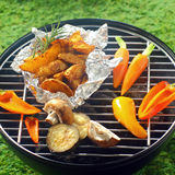 Fresh vegetables grilling over a BBQ fire Royalty Free Stock Photography