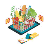 Grocery shopping online. Fresh vegetables and grocery products with icons in a shopping basket on a digital tablet, grocery shopping online and augmented reality vector illustration