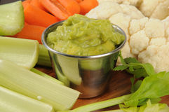 Fresh vegetables and guacamole Stock Photo