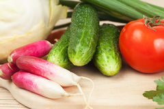 Fresh vegetables on the hardboard Stock Photo