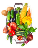Fresh vegetables harvest in basket with green leaves Stock Photography