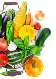 Fresh vegetables harvest in basket with green leaves Royalty Free Stock Image