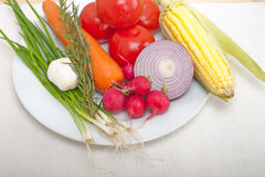 Fresh vegetables and herbs on a plate Royalty Free Stock Image