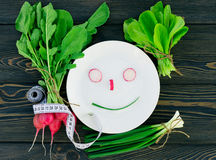 Fresh vegetables and herbs on a plate cooking raw ingredients on kitchen Royalty Free Stock Images