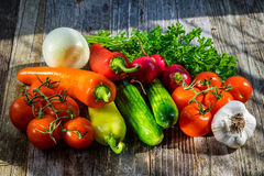 Fresh Vegetables and Herbs on a Table Royalty Free Stock Image