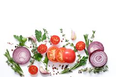 Fresh vegetables and herbs on a white background. Food background stock photos