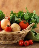 Fresh vegetables and herbs in a wicker basket Royalty Free Stock Photos
