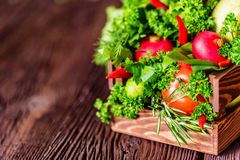 Fresh vegetables and herbs in wooden box. Close up fresh tomatoes, radish, dill, parsley, kohlrabi and ramsons in wooden box on dark wooden surface Royalty Free Stock Photography