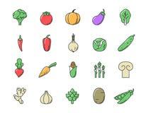 Fresh Vegetables icon color set. Flat line design vector illustration for your web design Stock Illustration
