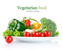 Fresh Vegetables In Plate Stock Photo
