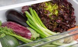 Fresh vegetables inside a refrigerator Stock Photo