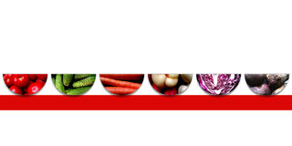 Fresh vegetables inside six upside down semicircles Stock Photos