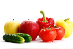 Fresh vegetables on isolated on white. Freshly washed vegetables with visible drops of water isolated on white Royalty Free Stock Photography