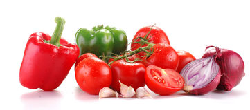 Fresh vegetables isolated on white. Freshly washed vegetables with visible drops of water isolated on white Stock Photo