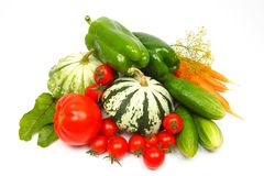 Fresh vegetables isolated on white Royalty Free Stock Photo