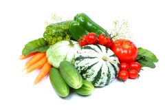 Fresh vegetables isolated on white Stock Images