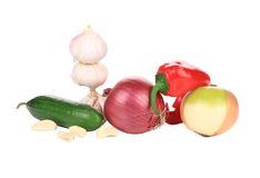Fresh vegetables. Isolated on a white background stock photography