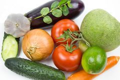 Fresh vegetables isolated on white background royalty free stock photos