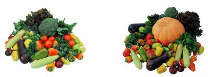 Fresh vegetables isolated on white background. Fresh mixed vegetables isolated on white background Stock Photo