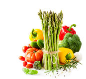 Fresh vegetables isolated on white copy space background Royalty Free Stock Photo