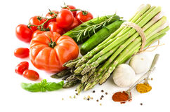 Fresh vegetables isolated on white copy space background horizon Royalty Free Stock Photo