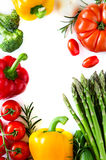 Fresh vegetables isolated on white copy space background vertica Royalty Free Stock Images