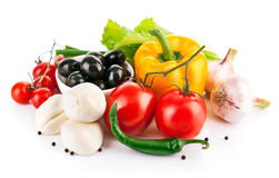 Fresh vegetables with italian cheese mozzarella Royalty Free Stock Images