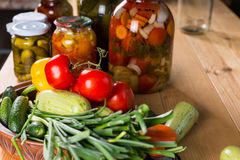 Fresh Vegetables and Jars of Pickles Royalty Free Stock Images