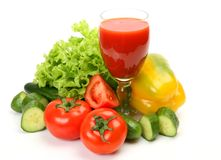 Fresh vegetables and juice Royalty Free Stock Photo