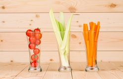 Fresh vegetables juices in glasses. Stock Photography
