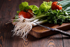 Fresh vegetables on the kitchen blackboard. Rustic Royalty Free Stock Photos