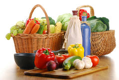 Fresh vegetables on kitchen table Stock Images