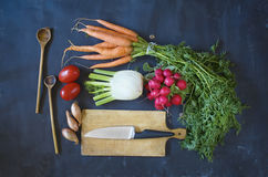 Fresh vegetables and kitchen utensils,. Cooking, healthy food concept Stock Photos
