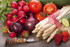 Fresh vegetables with knife Stock Images