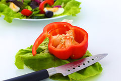 Fresh vegetables with a knife on the table for salad preparation Royalty Free Stock Photos