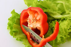 Fresh vegetables with a knife on the table for salad preparation Stock Photos