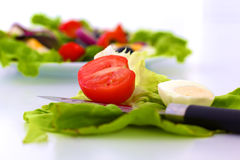 Fresh vegetables with a knife on the table for salad preparation Stock Images