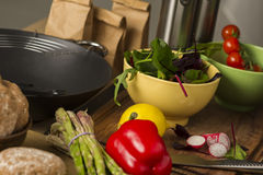 Fresh vegetables laid out on a kitchen counter Stock Photography