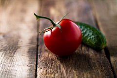 Fresh vegetables lay on the background of wooden boards Royalty Free Stock Image