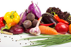 Fresh vegetables with leaves isolated Stock Image