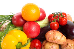 Fresh vegetables with leaves isolated Royalty Free Stock Image