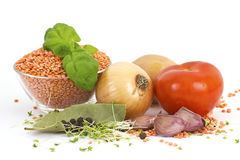 Fresh vegetables, lentils and spices Royalty Free Stock Photos