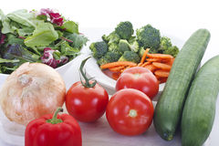 Fresh Vegetables and Lettuce for a Salad Stock Photo