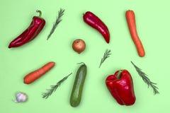 Fresh vegetables on light green background royalty free stock photo