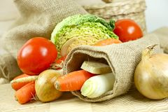 Fresh Vegetables in Linen Stock Photo