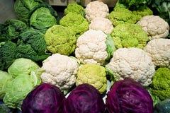 Fresh cauliflowers, cabbages. Vegetable market, food background royalty free stock photo