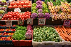 Fresh Vegetables at local farmers market stock photography