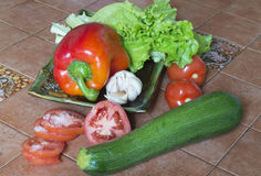 Fresh vegetables. Are lying on the kitchen table Stock Photos